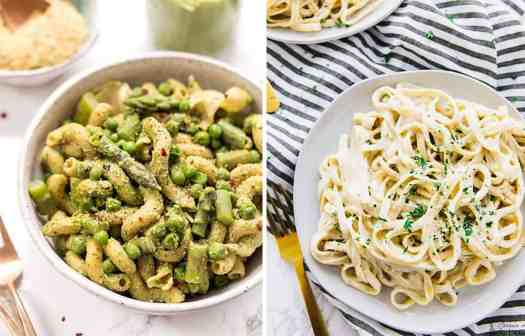 Pasta with peas and asparagus on a white bowl by Simply Quinoa and vegan alfredo pasta on a white plate by Jessica in the Kitchen