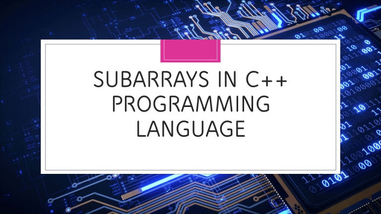 Subarrays in C++