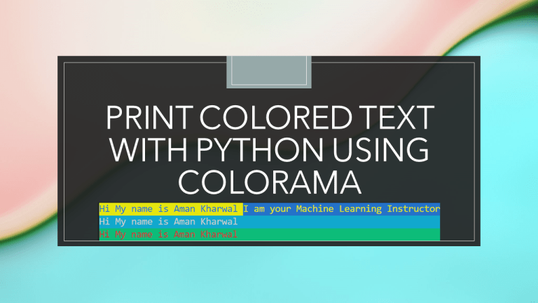 Print Colored Text with Python