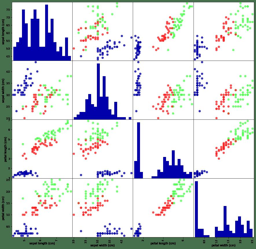 scatter plot for iris dataset