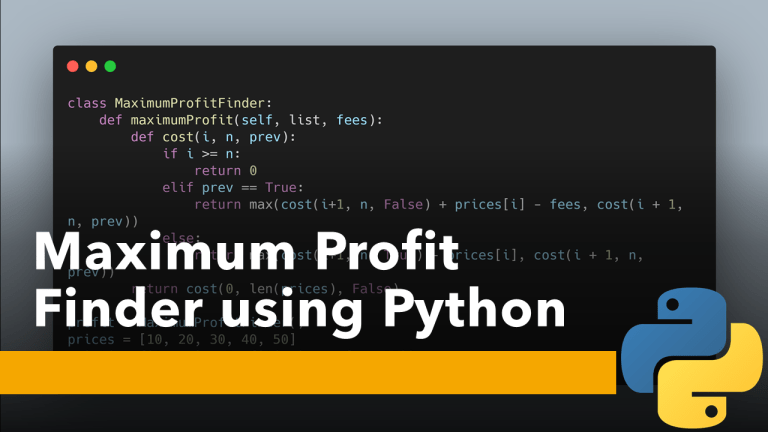 Find Maximum Profit using Python