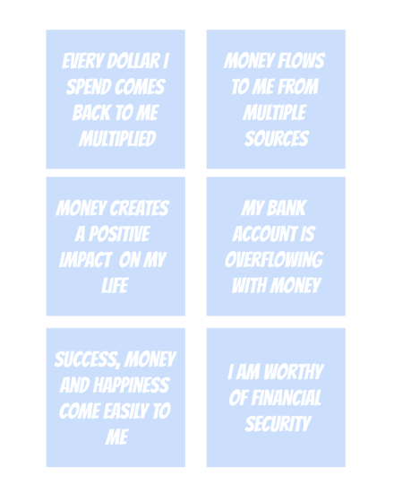 Printable Money Affirmations - The Clever Side
