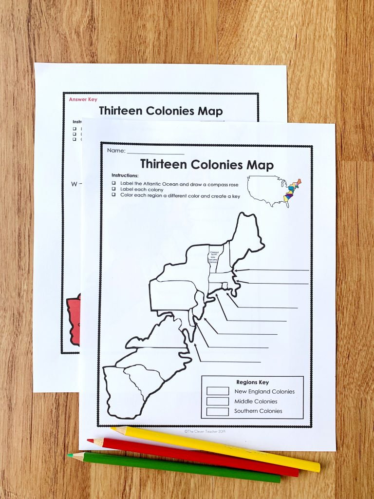 13 Colonies Free Map Worksheet and Lesson on