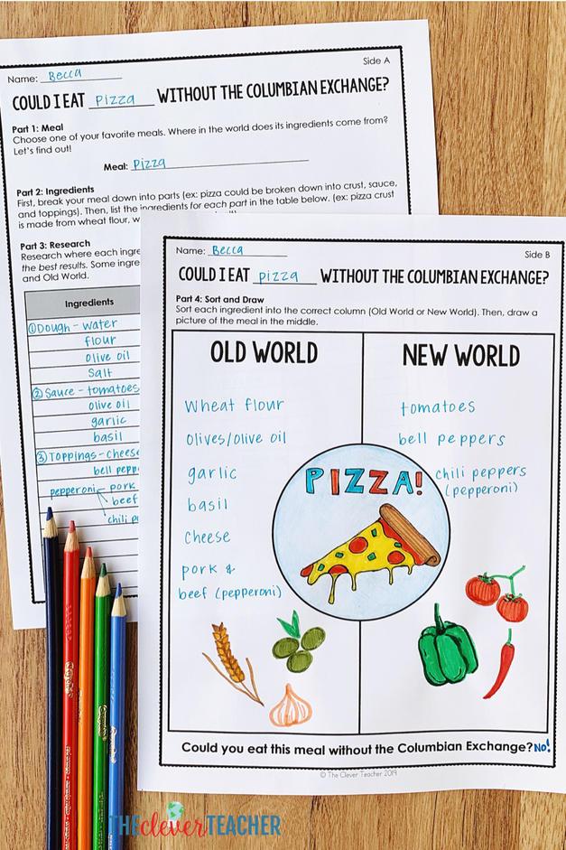 free columbian exchange food project worksheet