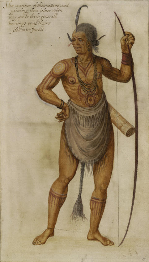Watercolor painting of a Native American chief by colonist John White (1585)