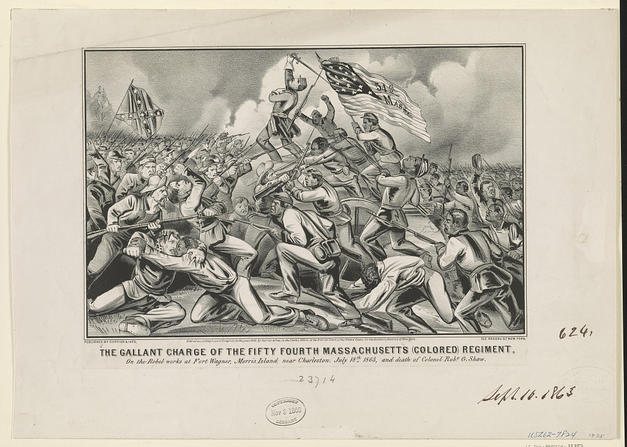 Illustration of the Attack of the Massachusetts 54th (African American Infantry Regiment) at Fort Wagner