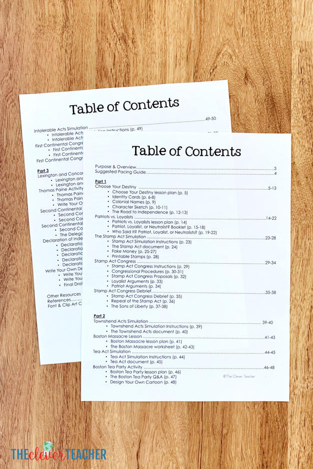 Declaration of Independence Unit Table of Contents