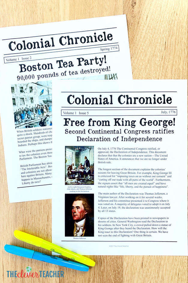 Revolutionary War newspaper lesson