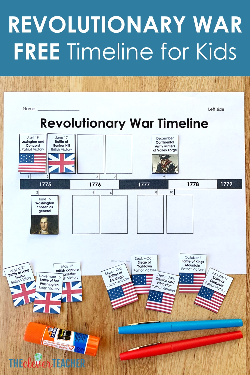 Revolutionary War Timeline For Kids Free From The Clever Teacher