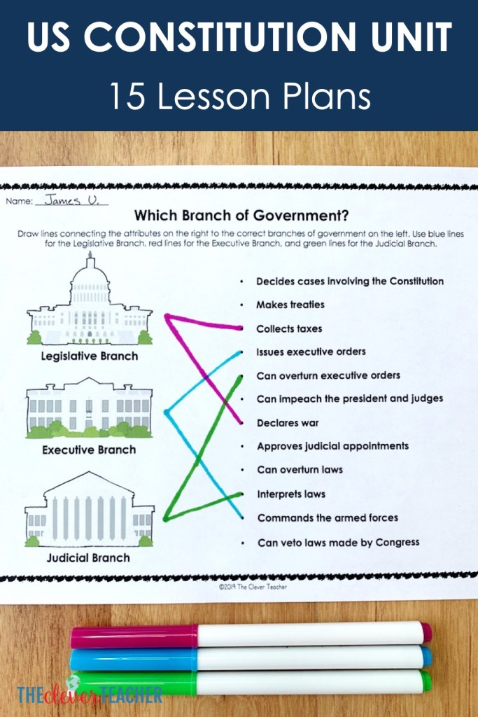 us constitution lesson plans for 5th grade and middle school preview - Branches of Government