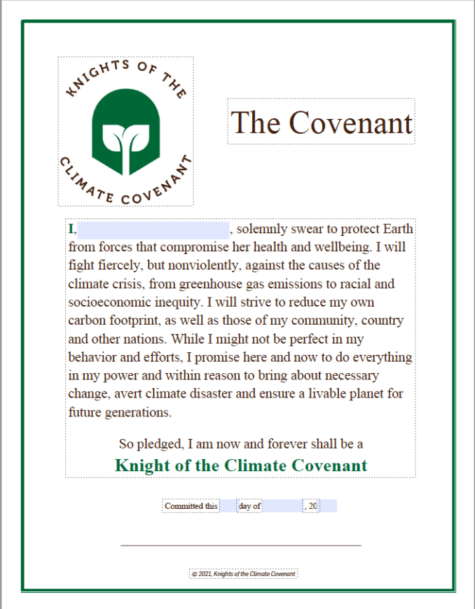 Image of Knights of the Climate Covenant pledge certificate