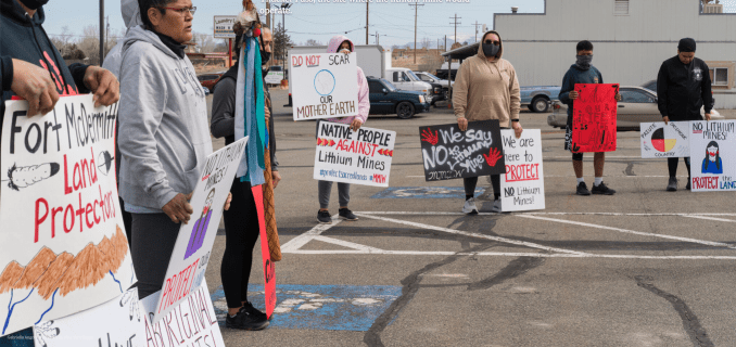 Photo of Native Americans protesting environmental impact of Nevada lithium mine