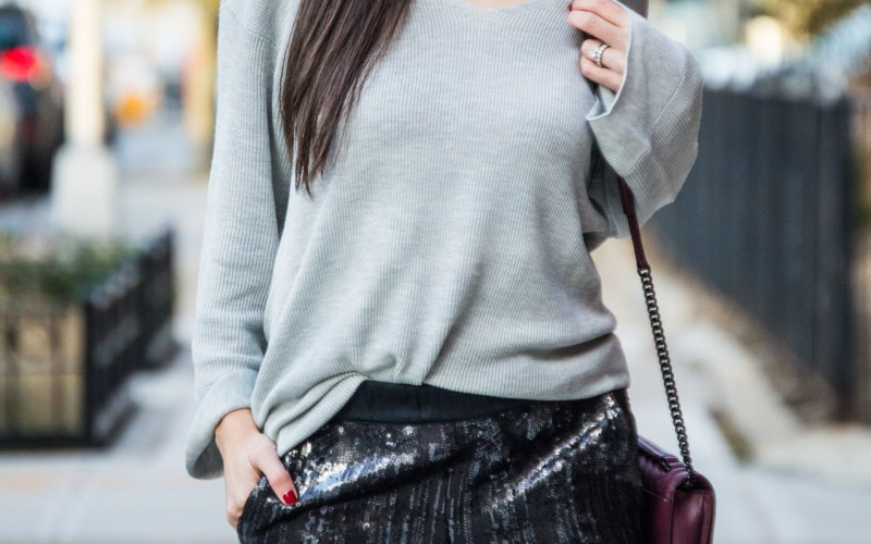HOLIDAY OUTFIT IDEA WITH SEQUINS JOGGERS