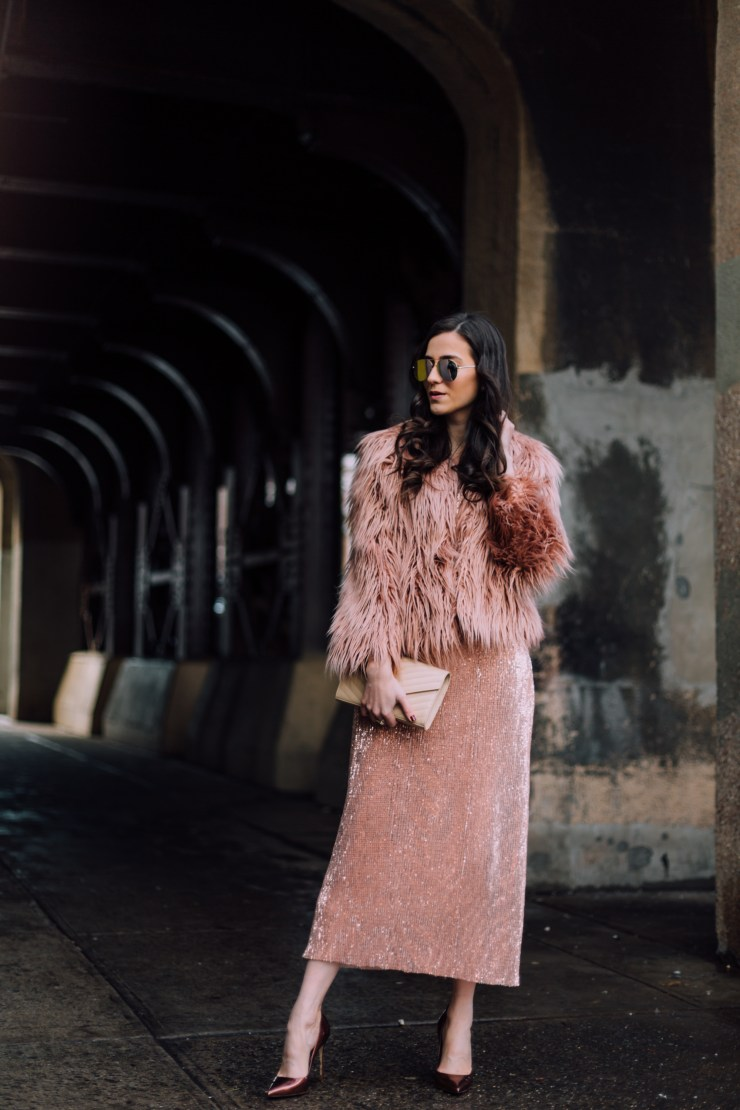 sequins dress faux fur coat