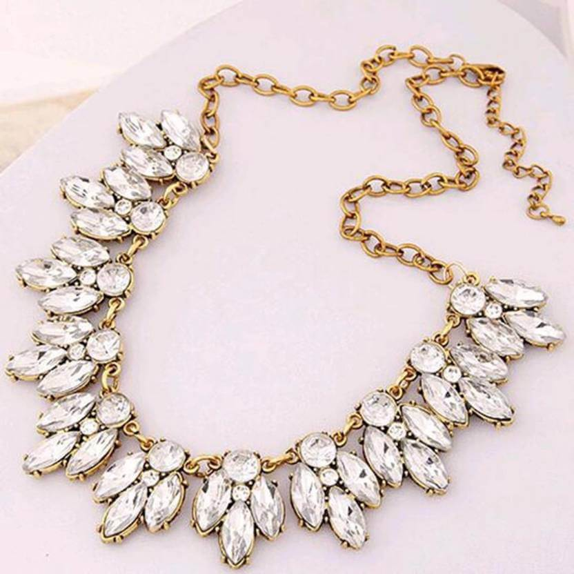 Leaf Zircon Statement Necklace-1