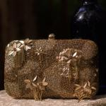 Brown Sequin Clutch with Tassels