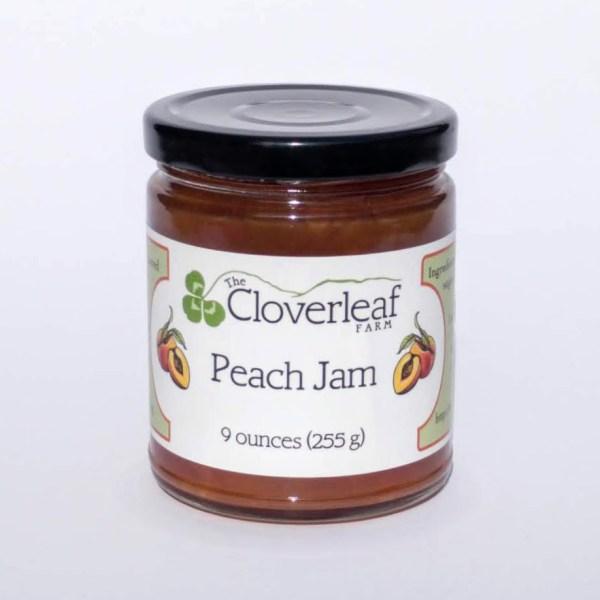 organic peach jam. 9 oz