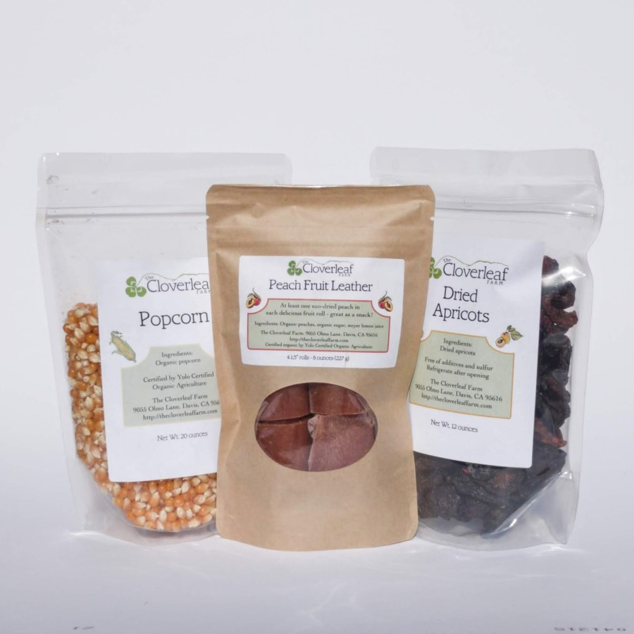 organic popcorn, fruit leather, and dried fruit
