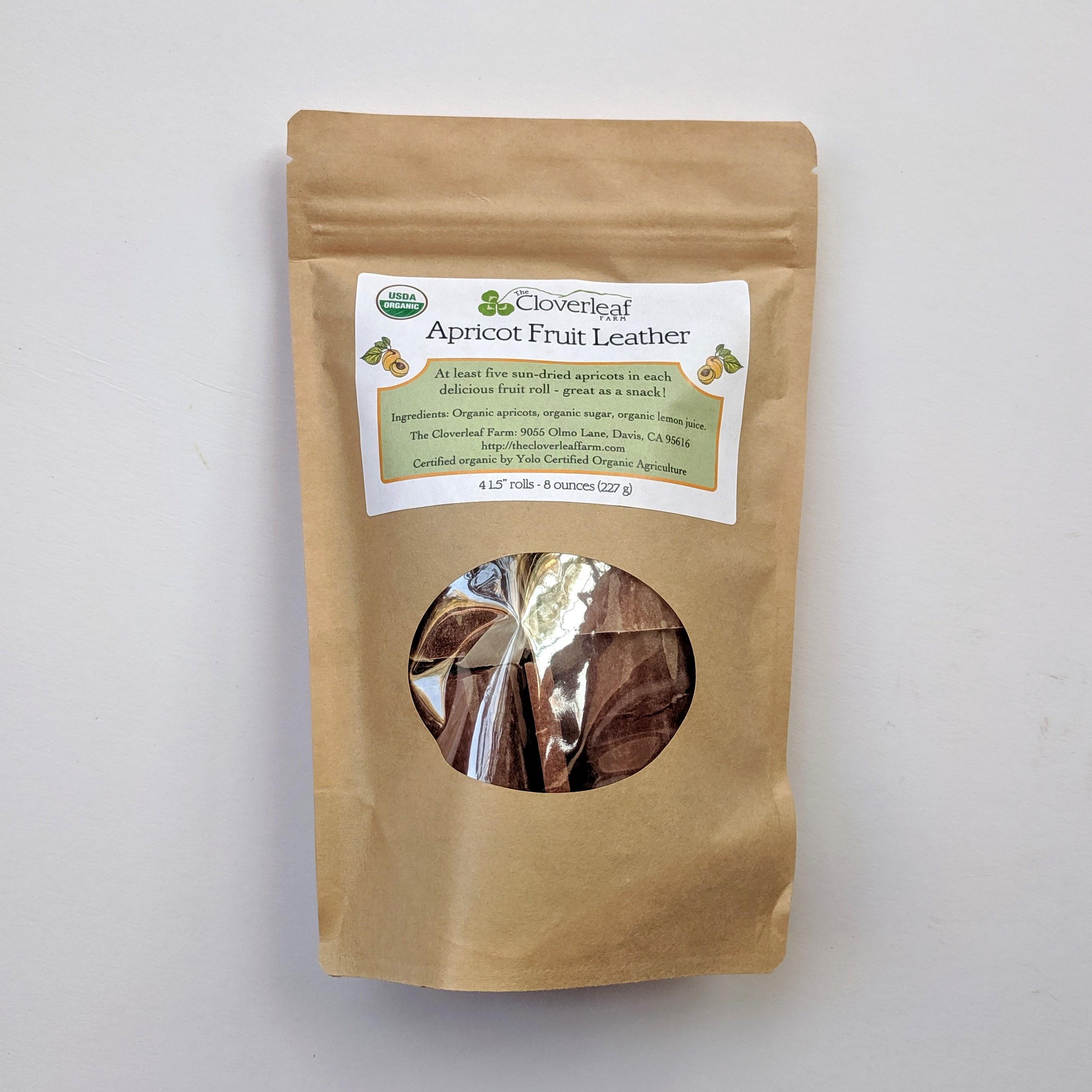 organic, small-batch apricot fruit leather rolls