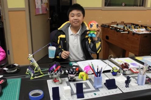 Henry S. shows off his Foomi, created during the Club's Toy Design workshop