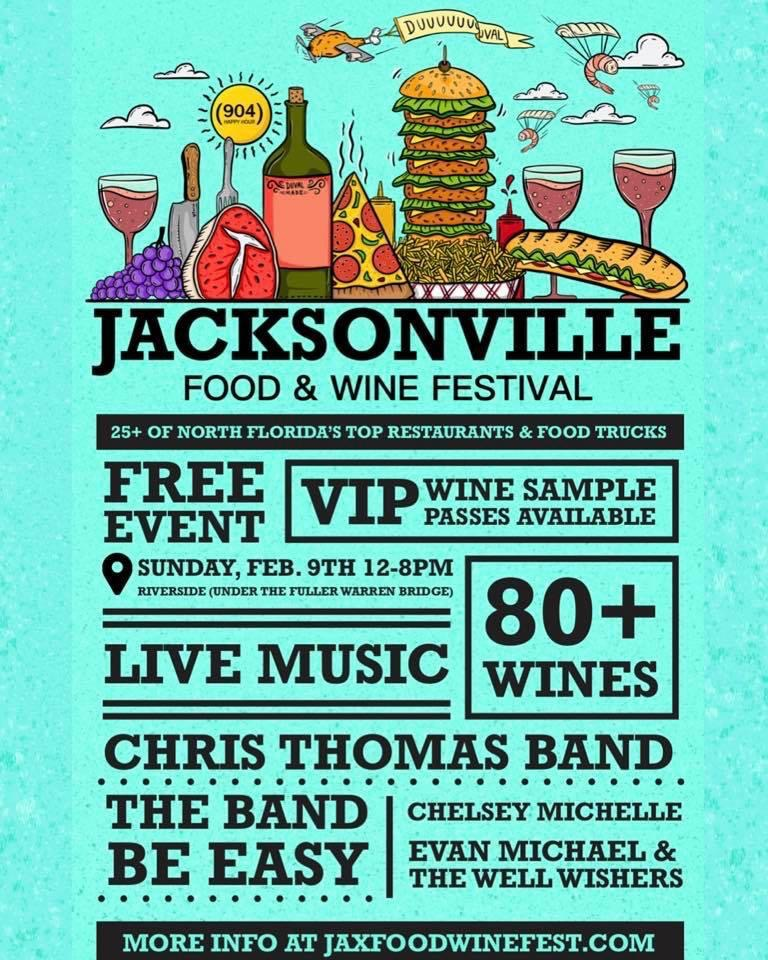 Inaugural Jacksonville Food & Wine Festival to Feature 80+ Wines, 20+ Local Restaurants