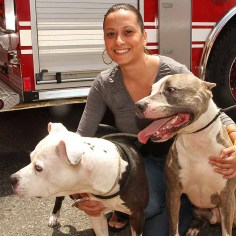 Alexia Maurakes w/Ralph & Blue, Asbury Park - They're both pit bulls. They're very strong. And even though they look scary, they're big mushes. They just want to play and meet everybody.