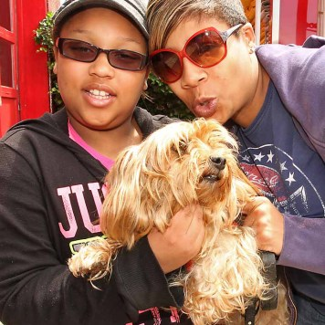 Stacey & Jada Weeton w/Diamond, Neptune - She's a little dog, but she's a toughie, like Napoleon Bonaparte. Small, but tough. But alone, she as sweet as she can be. She's a great guard dog.