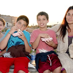 Having a snack on the Asbury Park boardwalk were Beth Kirsch with Nedd, Jacob and Jackson, all of Ocean Grove.