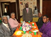 At the prayer breakfast at First United Methodist Church in Asbury Park were seated Red. Cyrus Green, Pastor Rosa Lee Pelzer, Rev. Jean Guy Florival and Rev. Kevin Nunn. Standing is Rev. Sony Augustin.