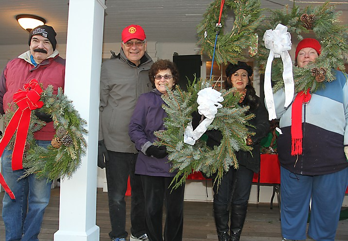 Members of the Ocean Township Garden Club were selling wreaths over the weekend at the Ocean Township Historical Museum.Pictured are Jerry Mercurio, Ed DeNoble, Virginia DeNoble, Sonia Vogel and Pat Mercurio.