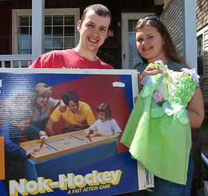 John & Jacquie Olson, Neptune City - We look for toys for our niece. Things to play with the family. We bought a fooseball table last year. We bought a nok-hockey game today. We're looking for old furniture that we can refinish.