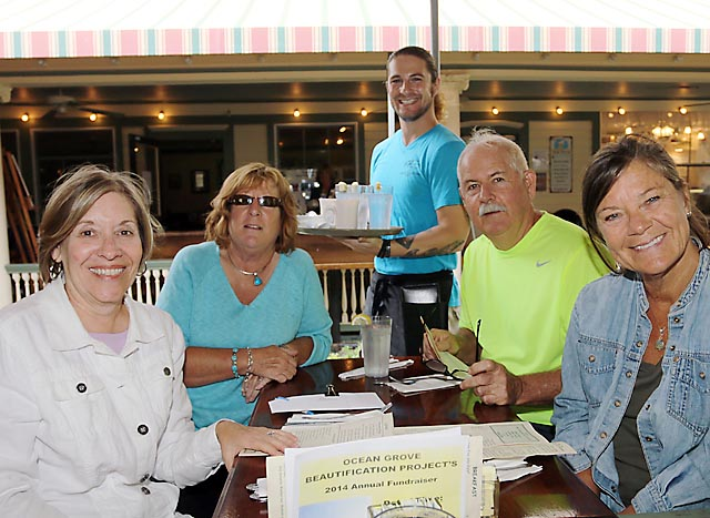 Bryan Vitalo, a server at the Starving Artist in Ocean Grove, waited on Jan Applegate, Asbury Park and Ocean Grove residents Connie Ogden, Greg Meyer and Colleen Meyer, all there supporting the Ocean Grove Beautification Project.