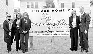 At the groundbreaking of Mary's Place in Ocean Grove were (left to right) Ginny Whipple Berkner and Jeannie Reichardt, board members, Michele Gannon and Maria McKeon, co-founders, and David Armstrong, board chair. Coaster photo.