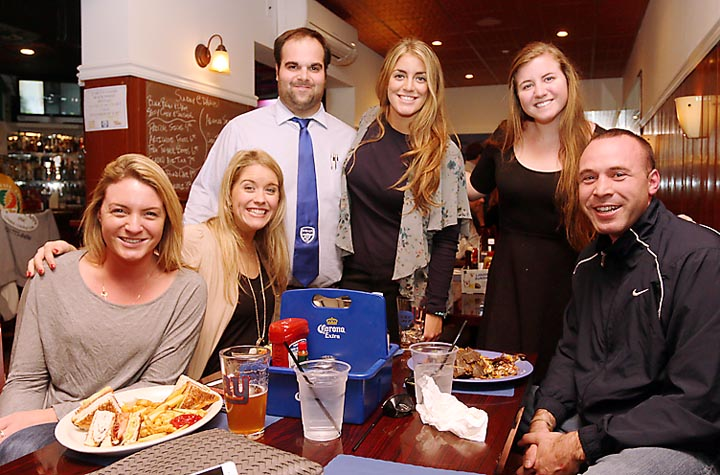 At D'Arcy's Tavern in Bradley Beach standing were Ryan Commesso, Mary Solazzo and Catherine Mayer, all of D'Arcy's with customers Rosie Crean, Asbury Park; Jayne Birrittella, Manhattan and Pat Crean, Asbury Park.