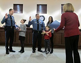 Coaster Photo - Police Captains Gerald Turning, Jr. and David Scrivanic were sworn in this week.