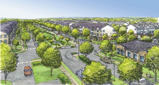 Plans for a portion of the former Fort Monmouth property in Tinton Falls include tree-lined streets and a walkable town center. (Artist's rendering for Lennar Corp.)