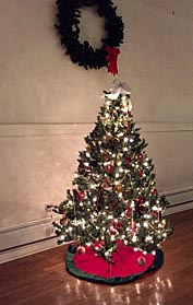One of the many Christmas trees decorating the Jersey Shore Arts Center in Ocean Grove