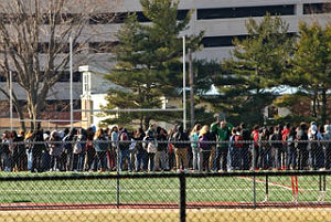 Coaster photo: Neptune High School students participated in a 17-minute walk out Wed., March 14 in memory of the 17 who died in the Florida shooting massacre and to urge action on gun violence.
