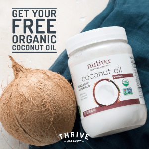 jar of Nutiva coconut oil with coconut and text Get Your Free Organic Coconut Oil