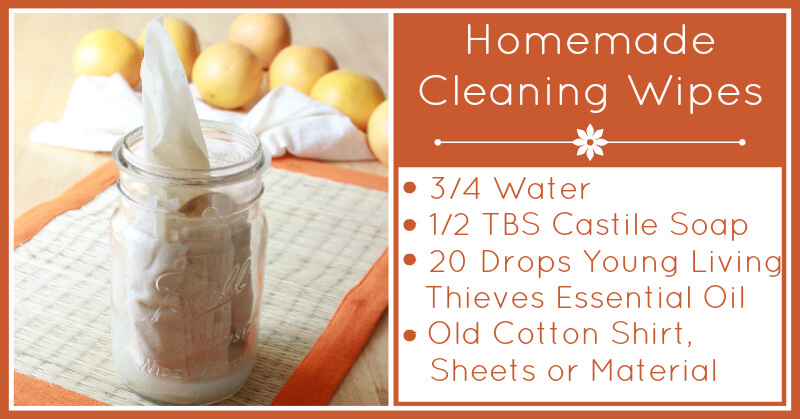 Homemade Cleaning Wipes with Essential Oils