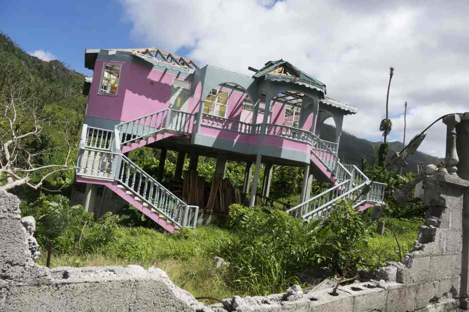 A damaged house in Dominica following Hurricane Maria on 18 September 2018