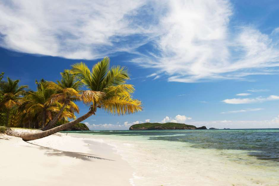 A deserted beach in Mustique, in The Grenadines