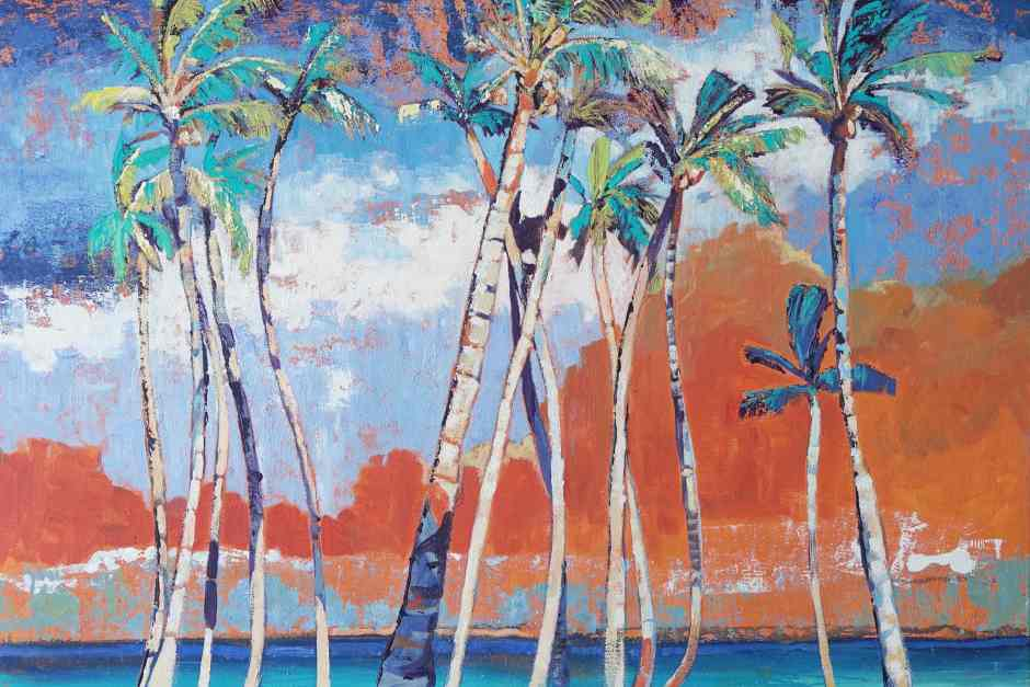 A painting of coconut palms by Jan Farara, Antigua
