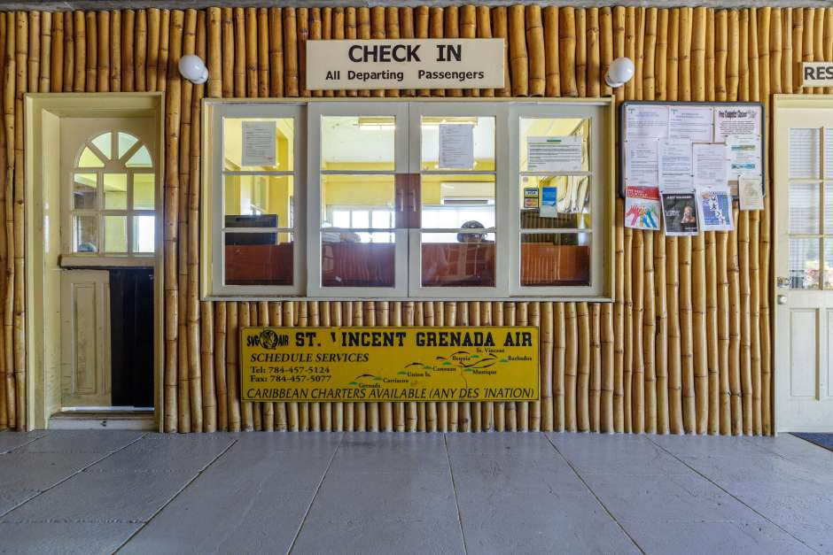 The bamboo terminal at Mustique Airport, St Vincent and The Grenadines