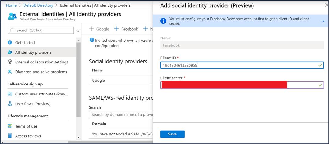 Add Facebook identity provider in Azure AD B2B