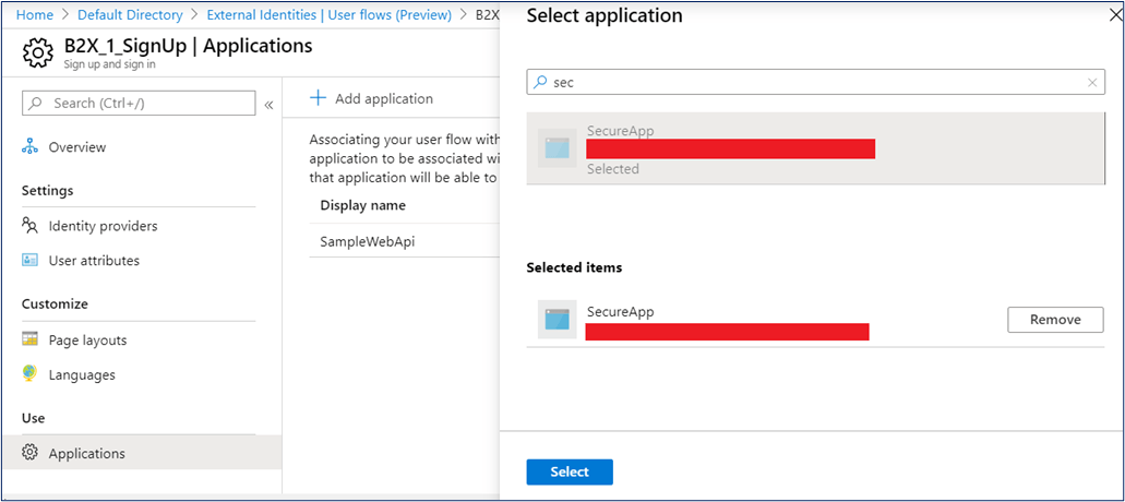 Associate application with user flow in Azure AD B2B