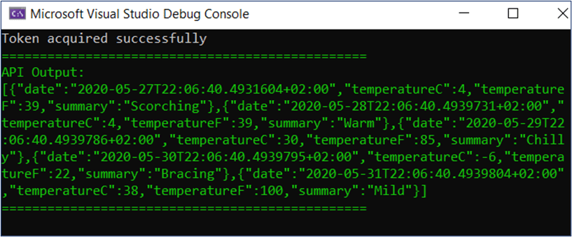 Daemon app called protected API successfully