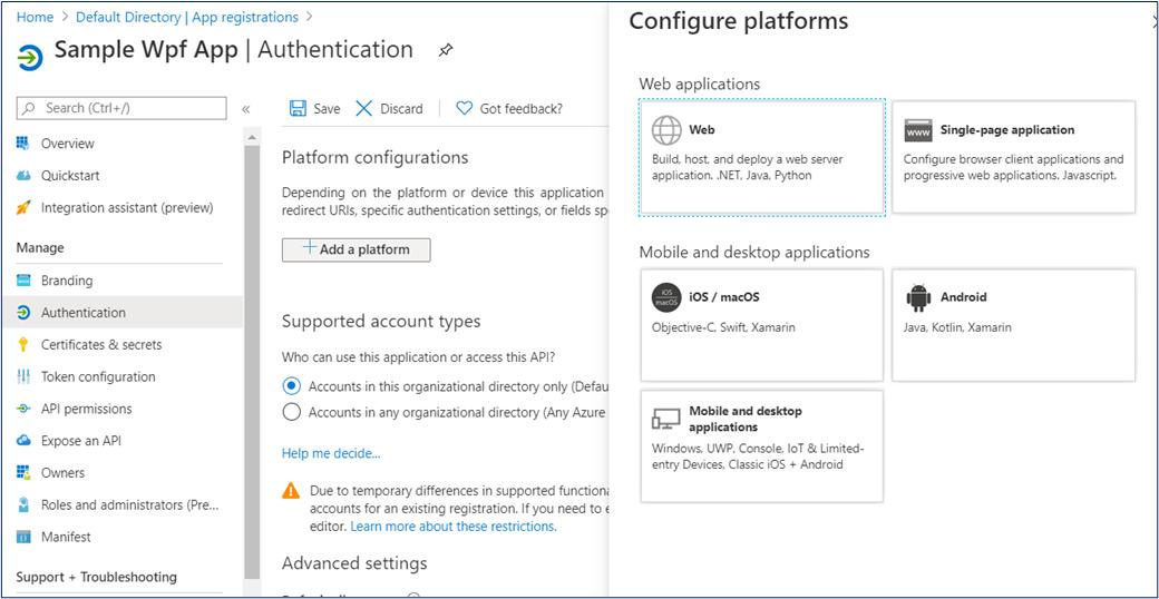 Configure platforms in Azure AD App Registration