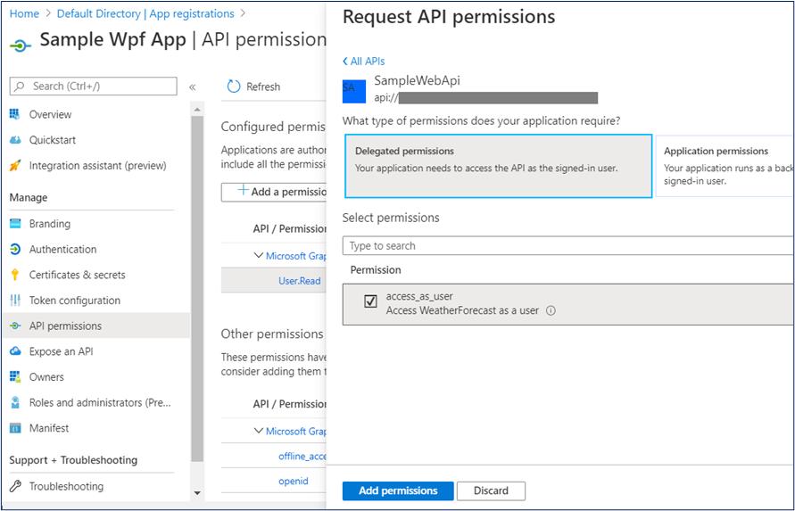 Azure AD - Request API Permission for WPF App 2