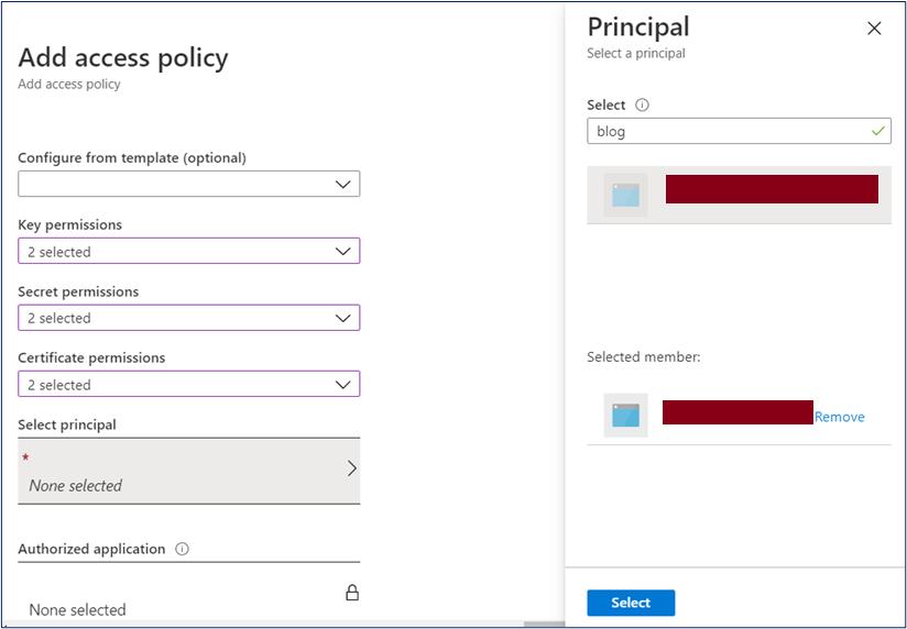 Select Principal for Key vault access policy